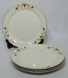 Vintage Hall China Jewel Tea Autumn Leaf 9quot; Lunch Plates Set of 4 1940#x27;s Era