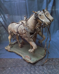 Antique Horses On Wheels Pull Toy Leather And Wood One Of Its Kind