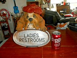 Vtg BULLDOG Statue Figure Wall or Stand Sign quot;Ladies Restroomsquot; 13quot;
