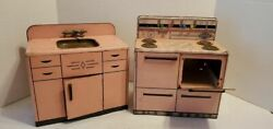 2 Vintage 1950s Pink Wolverine Metal Toy Kitchen Sink And Stove 12x12x7 Appx