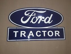 Porcelain Ford Tractor Service Enamel Sign Size 21 X 35 Inches.