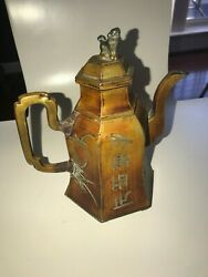 Old Chinese Pewter Teapot W/ Foo Dog Perched On Lid