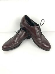 Stafford Comfort Plus Mens 9.5 D Leather Wing Tip Oxford Dress Shoes Made In Usa