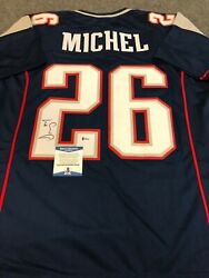 New England Patriots Sony Michel Autographed Signed Jersey Beckett Coa