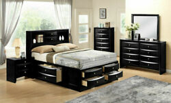 New Black Storage Queen / King 5pc Bedroom Set Traditional Furniture Bed/d/m/n/c