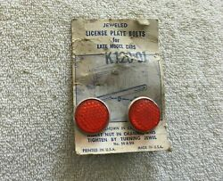 Nos License Plate Jewel Fasteners - Vintage Reflector Harley Indian Accessory