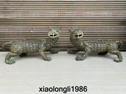Old Chinese Antique Han Dynasty Gilding Bronzeware Long Tailed Beast