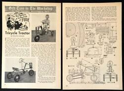 Tricycle Tractor 1949 Howto Build Plans Metal Construction Pedal Car