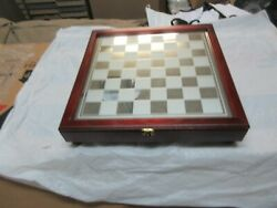 Chess Set , Clear And Frosted Glass Pieces , 3king ,14x2x14 . Vintage