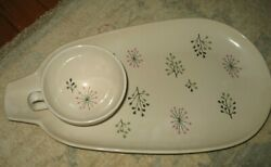 Rare Vintage Franciscan Echo Set Of Snack Plates/cups 1954 Atomic China Usa