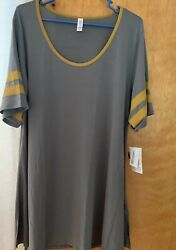 Womens Lularoe Perfect Tee Size 3x Gray With Gold NWT Top Cute Tunic Stylish Top $19.99