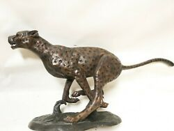 Bronze Antique Finished Live Size Running Cheetah Statue