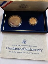 1987 Silver Dollar And Gold Five Dollar Commemorative Proof Set With Box And Coa
