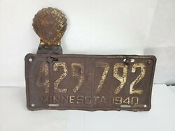 Vintage 1940 Minnesota License Plate With Shell License Topper