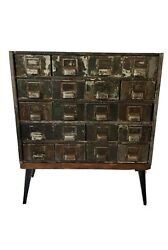 Vintage Card Catalog Industrial  Metal Parts Cabinet Upcycled Hall Table Storage