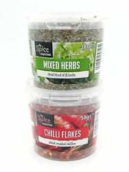 The Spice Emporium Chilli Flakes 50g And The Spice Emporium Mixed Herbs 30g
