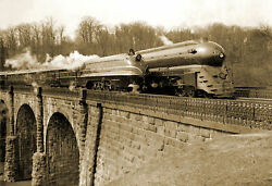 1939 Streamlined Trains On A Viaduct Vintage Old Photo 13 X 19 Reprint