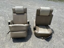 Flexsteel Rv Power Captainand039s Chairs Seats Pair Brown Cream Motorhome Coach Used