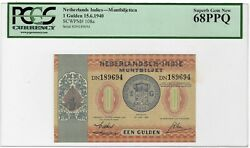 Netherlands Indies Indonesia 1 Gulden 1940 P-108a Pcgs-68 Ppq Banknote