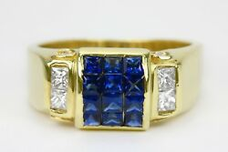 Unisex Princess Cut Electric Blue Sapphire And Diamond Cocktail Ring Gold 18k