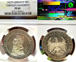 Germany 1927f 5 Marks Tubingen Rare Ngc Prf 63 Toning Frosted Mirror Fields