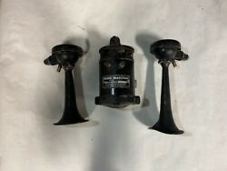 Marchal Compressor And Trumpet Horns 12 Volts Type M3 No 38u Used