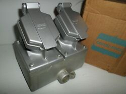New In Box Crouse Hinds Enr22201 2-gang Receptacle 20a 125v 3/4