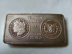 1 - 10 Oz. .999 Fine Silver Bar - Old Morgan Style - South East Refining