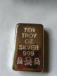 10 Troy Oz. .999 Silver Poured Skull And Crossbones Bar