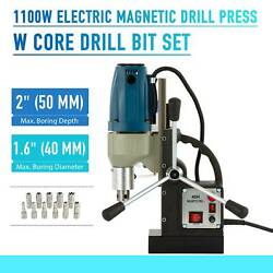 1100w Md40 Magnetic Drill Press 2 Boring Depth 2700 Lbs Magnet Force Tapping