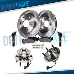4x4 Front Brake Rotors Pads Wheel Hub Bearing Outer Tie Rods For Silverado 1500