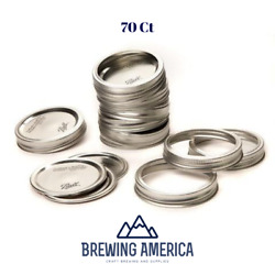 Ball Canning Jar Lids And Rings Set Of 70 Wide Mouth Mason Ball Jars New Silver