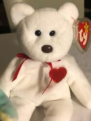 Ty Beanie Babies Valentino The Bear 93/94 Crooked Brown Nose Error Mint Rare Pvc