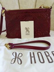 New Hobo Bags Crossbody Small Embossed Leather Cadence Convertible Handbag Ruby $95.00