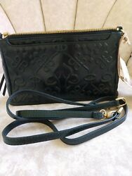 New Hobo Bags Crossbody Small Embossed Leather Cadence Convertible Handbag Green $95.00