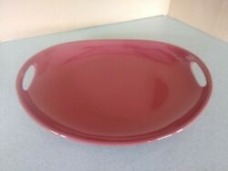 Longaberger Pottery Contour Swoop Tray Woven Traditions Paprika Red