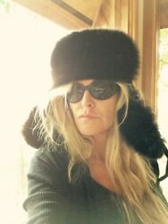 Black Fox Fur Russian Style Trapper Hat Made In Italy By Crown Caps