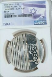 1971 Israel Silver 10 Lirot Let My Go Bern Mint Ngc Pf 67 Only 80 Coins Minted