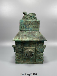Old Chinese Antique Bronzeware Animal Cover Square Seal