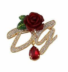 Dolce&Gabbana Women Gold Brooch Brass Crystals Floral DG Logo Fashion Lapel Pin