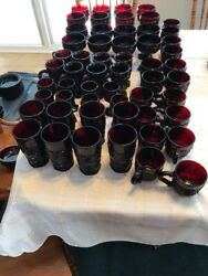 Vintage Avon 1876 Cape Cod Collection Ruby Red Glass 5 Pedestal Mugs Set Of 4