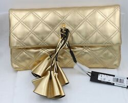 Marc Jacobs Metallic Gold Quilted Soft Leather Clutch Handbag New With Tags