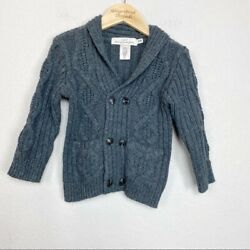 H&M Gray Cable Knit Wool Blend Grandpa Cardigan size 1.5-2 years Toddler Boy $18.00