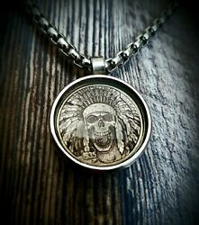 Indian Skulk Hobo Nickel Necklace with 26quot; Stainless Steel Chain $21.90