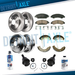 Front Disc Rotor Pad Rear Drum + Ball Joint For 2005-2008 Silverado Sierra 1500