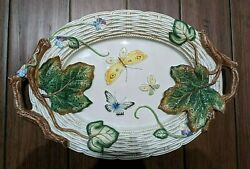 Fitz And Floyd Old World Rabbits 19 Oval Serving Platter Tray Butterflies Euc