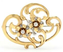 Vintage European Art Nouveau Brooch In 18k Yellow Gold With Diamonds