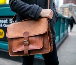 Brown Leather Laptop Briefcase Messenger Backpack Bag New 16quot; $79.00