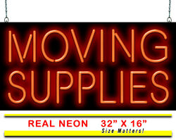 Moving Supplies Neon Sign   Jantec   32 X 16   Packing And Shipping Movers Box