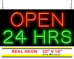 Open 24 Hours Neon Sign | Jantec | 2 Sizes | All Day And Night Store Grocery Bar